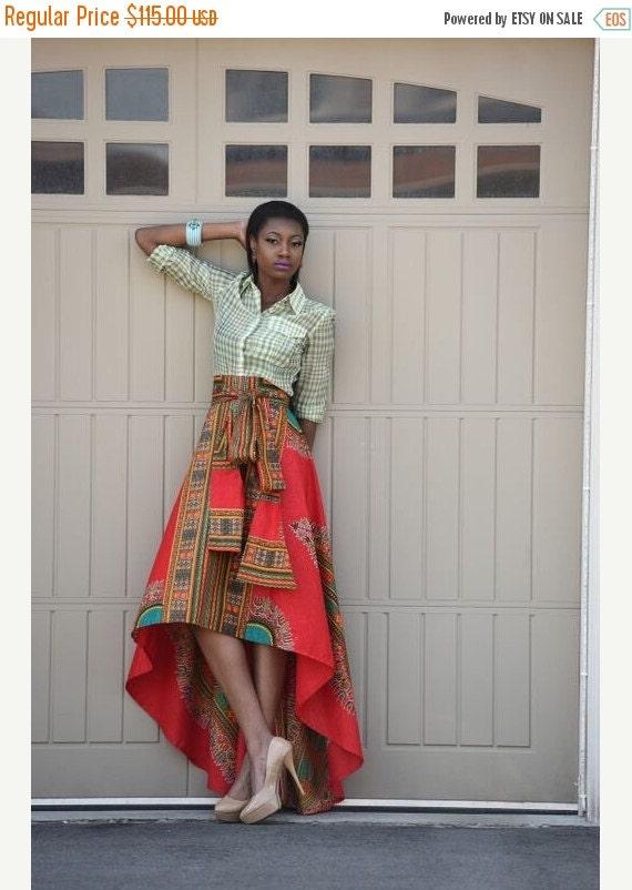 SALE African Print Skirt  Red Dashiki  skirt, African clothing