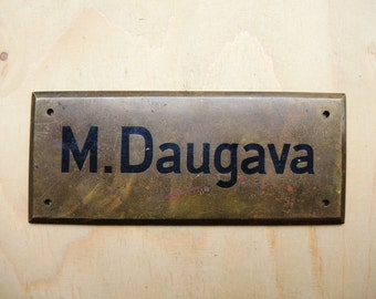Antique Solid Brass Door Name Plate in Latvian / brass souvenir / old Brass Door Plate Nameplate Name Plate Ships Doctor / Collectible sign