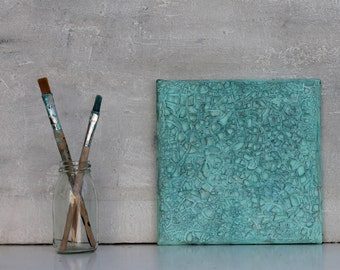 """Modern Art, impasto, 8x8x0,6"""" turquoise, Wall Decor, Modern Texture Painting, Mixed Media acrylic,  abstract painting, artistry, decor"""
