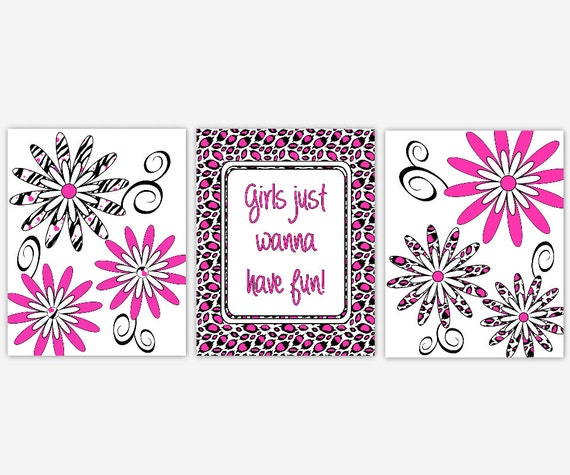 leopard wall art hot pink black young girls teenage girl room