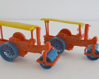 Steam Engine Steamroller Vintage Plastic Toy Set of 2 Miniature