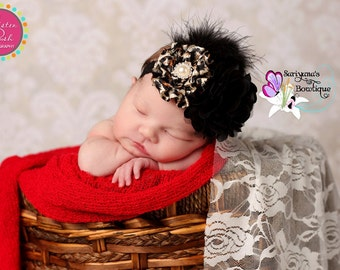 Leopard Black Gold Brown Satin Tulle Flower Pearl Rhinestone Feather Lace Headband,  Baby Toddler Girl Woman, Animal - SB-035