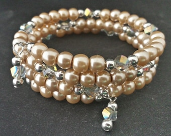 6mm Light Bronze Glass Pearls and 6mm AB Helix Clear Crystals Memory Wire Bracelet.
