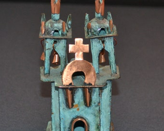 "Old Santa Fe Style Copper Spanish Colonial Church, 3.75"" Tall"