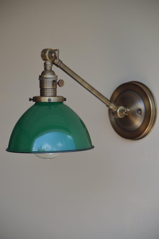 Green Metal Wall Lights : Wall Sconce Lighting with Green Metal Dome Shade