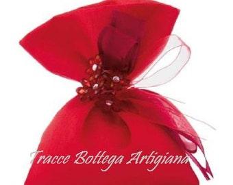 cotton wedding favor bag red coloured flowers handmade with Rhinestone CM11X14