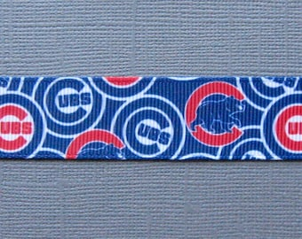 "Sale! CHICAGO CUBS  Logo Collage on 7/8"" Grosgrain Ribbon - 3 Yards"