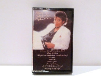 Michael Jackson Vintage Cassette Tape Thriller 1980s Beat It Billie Jean Human Nature PYT Pretty Young Thing Wanna Be Startin Dance Music
