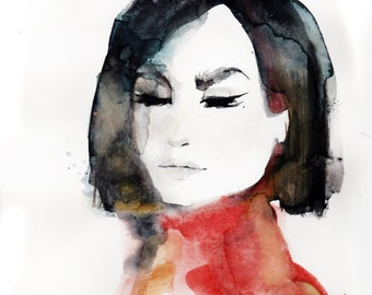 Red Sweater, print from original watercolor and mixed media fashion illustration by Kristen Baker