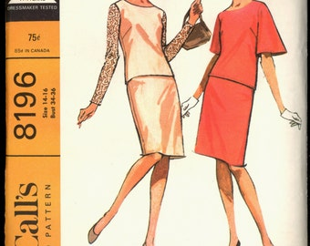 1960s Size 14 16 Bust 34 36 Easy to Sew Two Piece Dress McCalls 8196 Vintage Sewing Pattern 60s Top Skirt