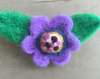 Purple Wool Felted Flower Pin