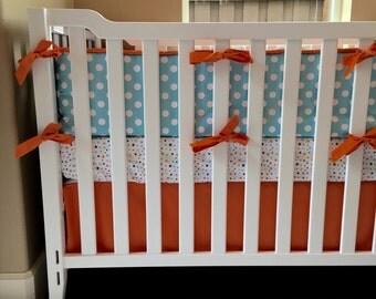 Crib Bedding, baby bedding, crib set, Orange Teal baby bedding, Stars and Polka dots