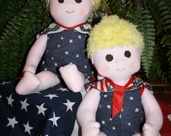Red, White and Blue Sailor Twins