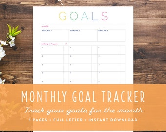 Printable Monthly Goal Tracker | DIY monthly goal organization: Instant Download