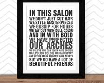 Home Decor | In this salon Wall Art, Inspirational Art, Office Art, Nursery Art, Digital or Printed Art