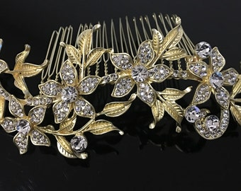 beautiful elegant wedding bridal flower hair comb crystal bridal hair accessory