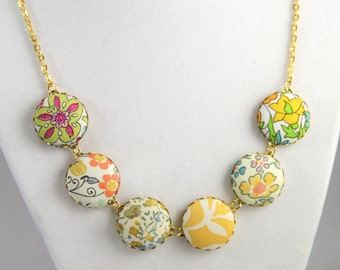"Boho Chic fabric button necklace- ""Gold Glory #4""- various Liberty of London fabrics with gold tone chain"