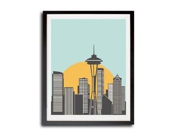 Seattle City Poster Print, Seattle Skyline Print