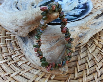 Unakite stretchy bracelet ~ One Reiki infused gemstone chip bead bracelet approx 7 inches