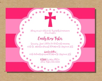 First Communion Invitation Girl | Communion Invite | First Holy Communion | Confirmation Invite | Baptism Invitation | Digital Invitation