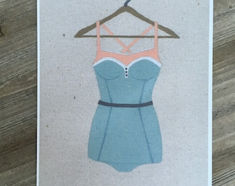 "Retro Swimsuit, art print 8 1/2"" x 11"""