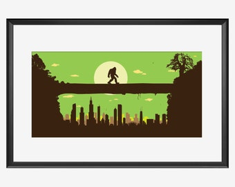 Chicago Skyline, Chicago print, Chicago art, Sasquatch Print, Bigfoot art, Bigfoot print, bipedal humanoid, Bigfoot Poster, Sasquatch poster