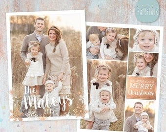 SALE NOW ON Christmas Card Template - Christmas Photo Card - Photoshop template - Ac068 - Instant Download