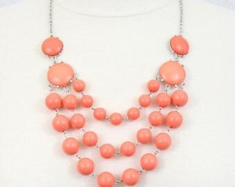 Coral Multi Strand Bubble Necklace Statement Necklace Bib Necklace Chunky Layered Beaded Necklace Orange