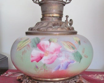 Victorian Oil Lamp 1860-80 Circular Burner LARGE Hand Painted Porcelain Gorgeous