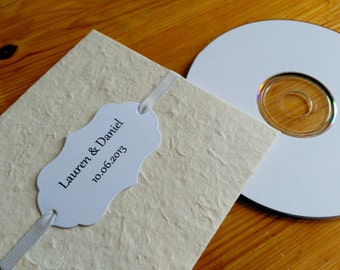 Custom CD Sleeve, Natural Lokta, Silver Ribbon, Personalised Card Label.