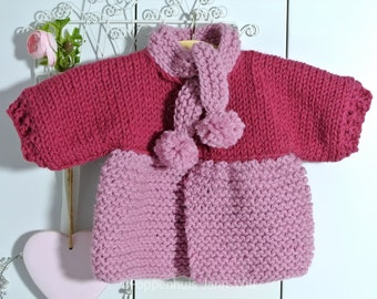 Knitted Coat, fuchsia, old Pink, Waldorf Doll 16 inch