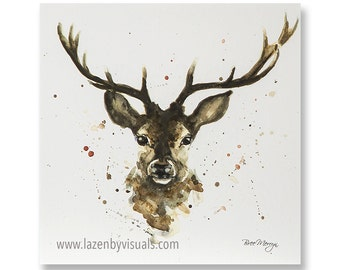 Stanley Stag - A beautiful animal painting by Bree Merryn - Open edition mounted giclee print