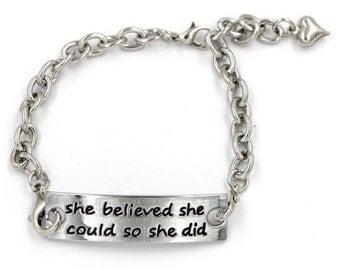 She Believed She Could Bracelet, silver