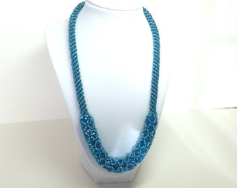 Teal Czech fire polished bead necklace.