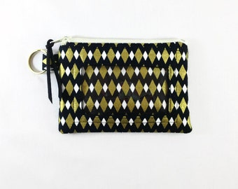 Diamond Print ID Coin Wallet with Window, Change Wallet, Black Gold Coin Pouch, Small Black Coin Zip Wallet, License Or Student ID Holder