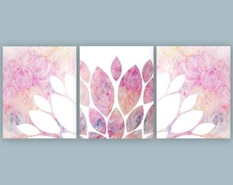 Pink Wall Art, Girls Bedroom Decor, Pink Nursery Printable Decor, Pink Print, Chrysanthemum Art, Set of 3 Prints 8x10 16x20 Instant Download