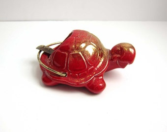 Vintage Mid Century Treasure Craft Pottery Turtle Tortoise Ashtray - Red Gold Fleck Glaze Turtle Tobacciana