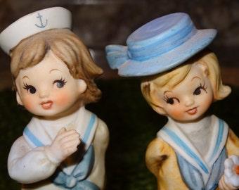 Vintage Inarco Sailor Boy and Sailor Girl Figurines
