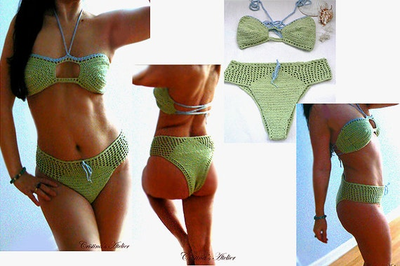 Amelia crochet high waist bikini. Mint cheeky swimsuit. Boho sexy bandeau crochet bikini. High rise swimsuit. Brazilian bikini -Women gift