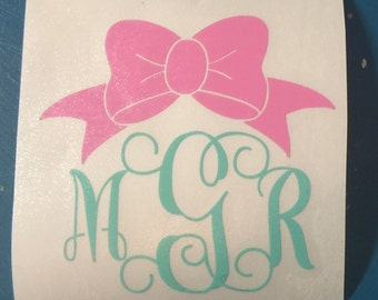 Script Monogram with Bow