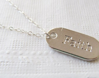Faith Necklace, Sterling Silver Necklace, Gift for Her