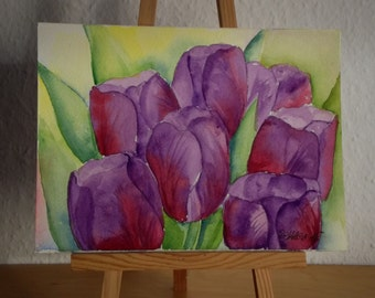 Flower Painting, Purple Tulips, Small Watercolor Original