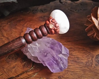 Wooden Hairstick with Agate