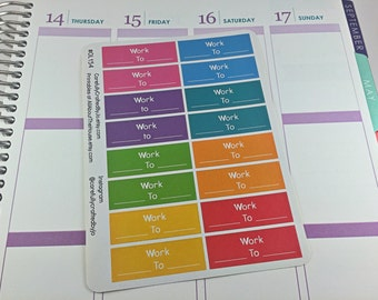 Work Planner Stickers, Rainbow Sticker, Work, Work Tracker, Busy Time, Erin Condren, Plum Paper, MAMBI, planner accessory