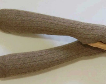 Cashmere, Long, Brown-Beige melange, Braid, Hipiie, Boho, Soft, Nice and Warm, Fingerless Gloves with Thumb Holes. IDEAL for HER