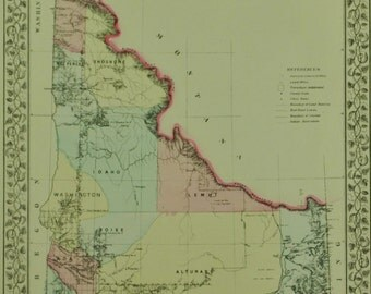 Idaho Territory Antique Mitchell Map 1881