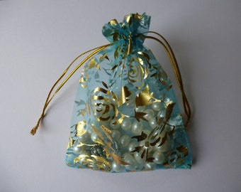 "Organza bags. Pale sky blue and gold gift,pouch, bag for  jewellery, wedding favours. Pouches.  Approx 10 x 13cm (4"" x 4.75 "")  Set of 10"