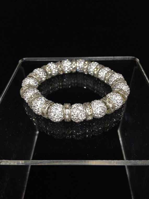 Austrian Pave Crystal Beads Stretch Bracelet- Clear Crystal Bridal Bling!