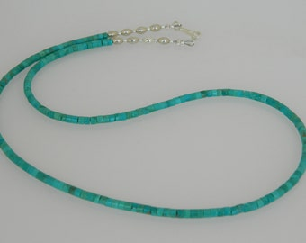 "Native American Navajo Kingman Turquoise Heishi Sterling Silver Bead Necklace 19"" Perfect 4 Pendants"