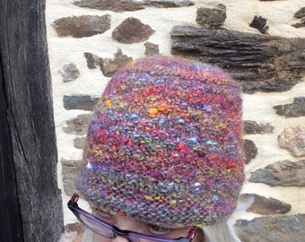 Rainbow Warrior. Toque/Hat.Flat Top. Alpaca mix. Hand dyed. Handspun. Handknit.